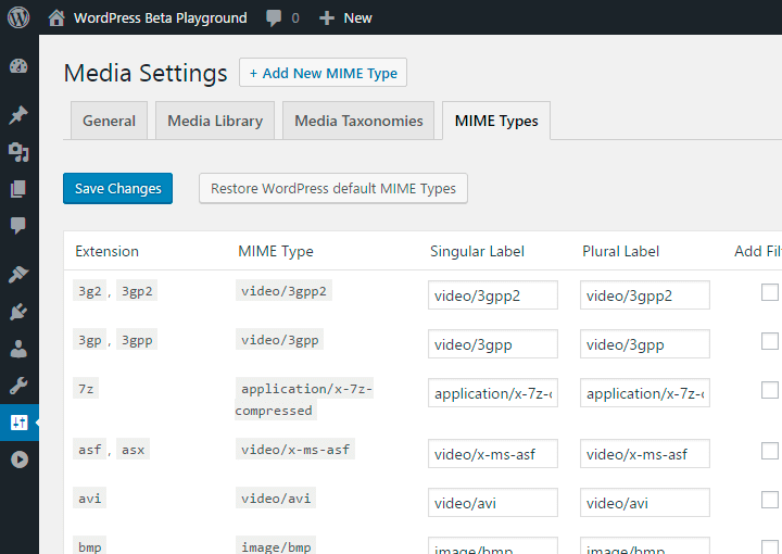 Enhanced Media Library :: MIME Type Management